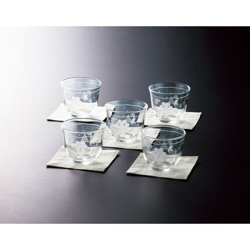 ぶどう切子 コースター付冷茶5客セット グラス