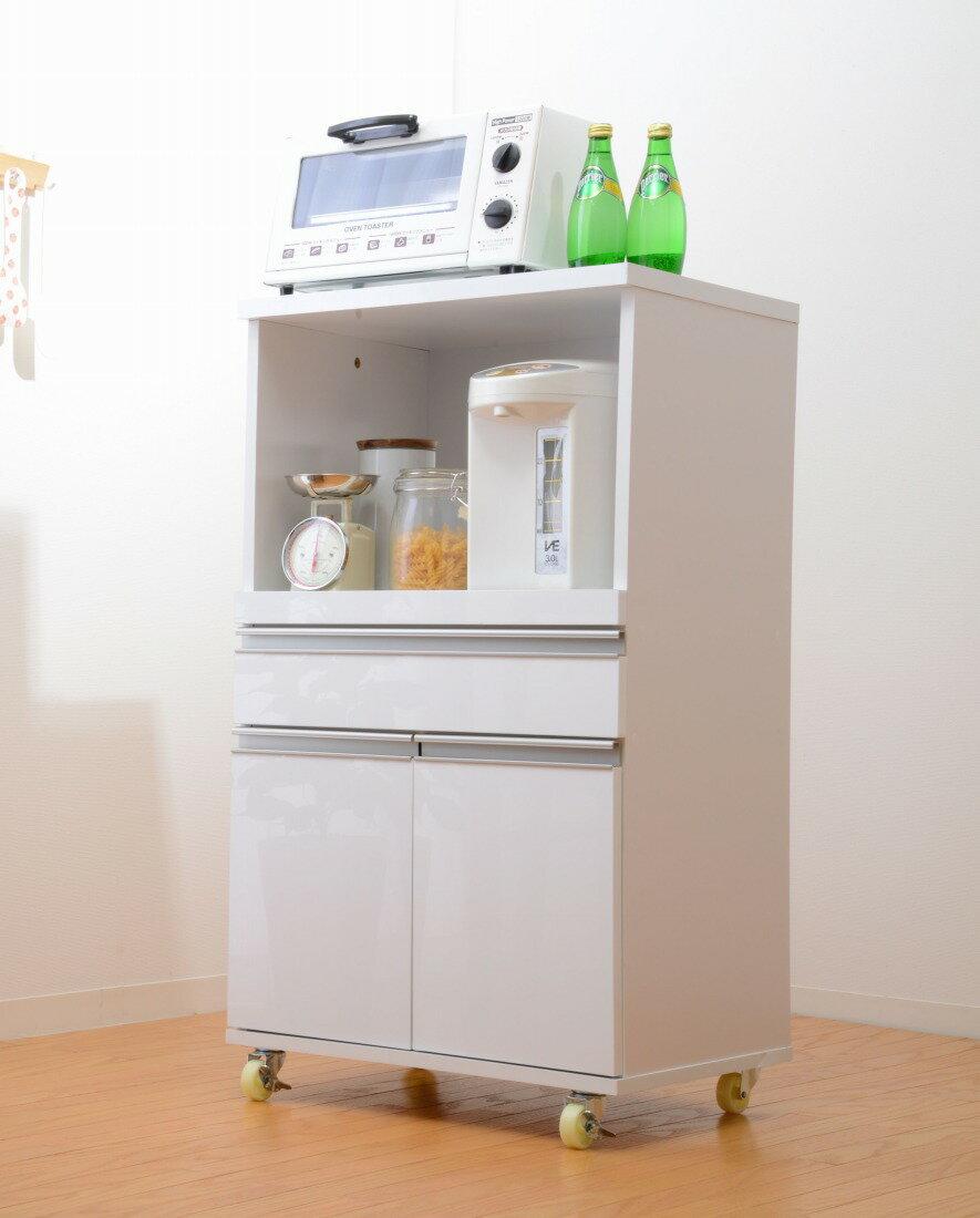 レンジ台 キッチンカウンター 鏡面仕上げ キッチン収納 デリカミニ 54cm幅(代引き不可)【ポイント10倍】