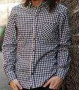 日本製 ギンガムチェック ワイドカラー ボタンダウン シャツ ギンガムチェックシャツ キレイめ メンズ 長袖 ドレスシャツ アメカジ 【送料無料】【smtb-F】【RCP】