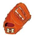 ハイゴールド 高品質な硬式用ファーストミット しっかりした革でオススメ 右投げ用 オレンジ/イエロー×タン紐 野球用品【送料無料】【smtb-f】