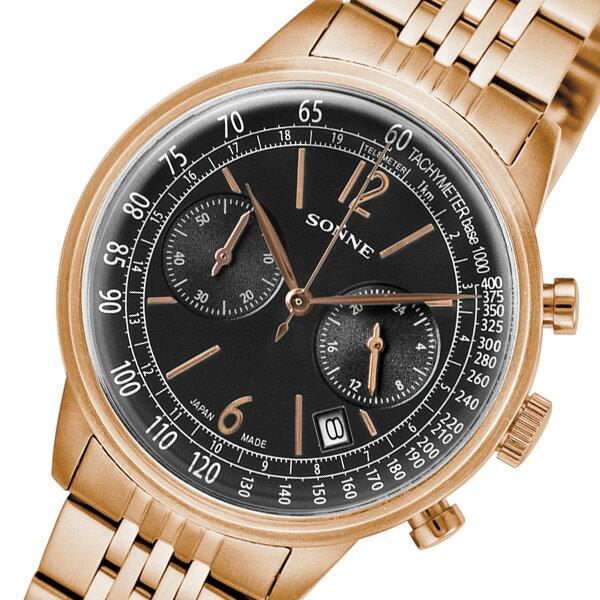 ゾンネ SONNE ヒストリカルコレクション クロノ クオーツ メンズ 腕時計 HI002PG ブラック【送料無料】【_包装】 【送料無料】【ラッピング無料】清水さいか