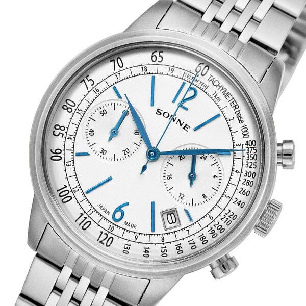 ゾンネ SONNE ヒストリカルコレクション クロノ クオーツ メンズ 腕時計 HI002SV シルバー【送料無料】【_包装】 【送料無料】【ラッピング無料】