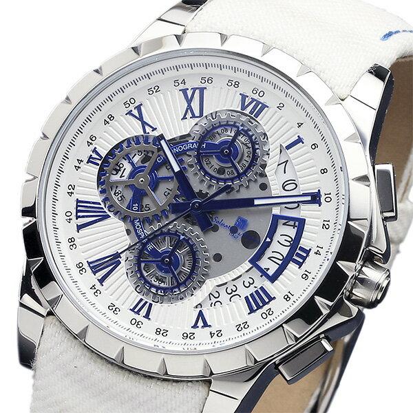 サルバトーレマーラ クロノ クオーツ メンズ 腕時計 SM13119D-SSWHBLWH ホワイト【送料無料】【_包装】 【送料無料】【ラッピング無料】