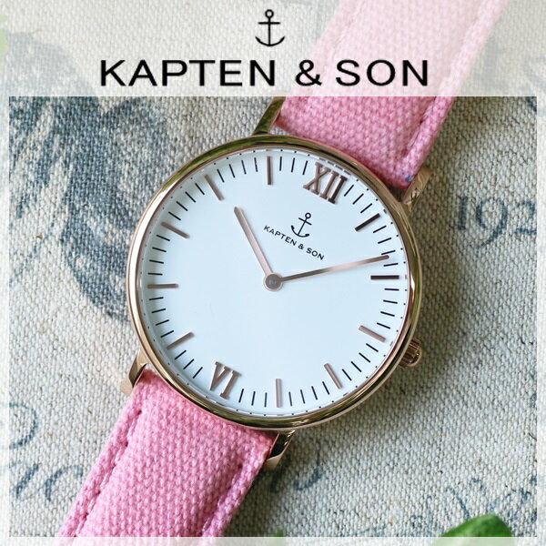 キャプテン&サン KAPTEN&SON 36mm ホワイト/ピンクキャンバス レディース 腕時計 GD-KS36WHPC 【送料無料】【_包装】 【送料無料】【ラッピング無料】