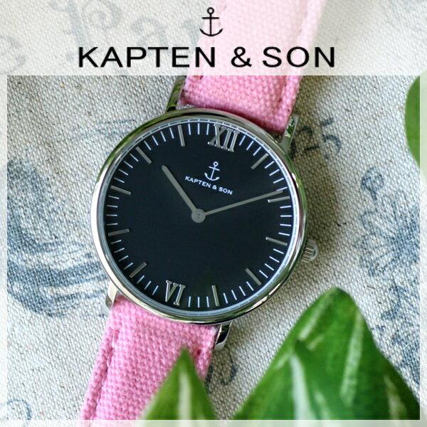 キャプテン&サン KAPTEN&SON 36mm ブラック/ピンクキャンバス レディース 腕時計 SV-KS36BKPC 【送料無料】【_包装】 【送料無料】【ラッピング無料】
