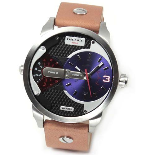 ディーゼル メンズ 腕時計 人気の2Time表示レザーストラップ・ウオッチ DZ7308【送料無料】