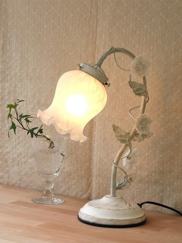 【卓上ランプ】ローズアームフラワー1灯 ホワイト 〜バラをモチーフとしたインテリア卓上ライト。3段階調光タッチセンサー式〜(代引き不可)