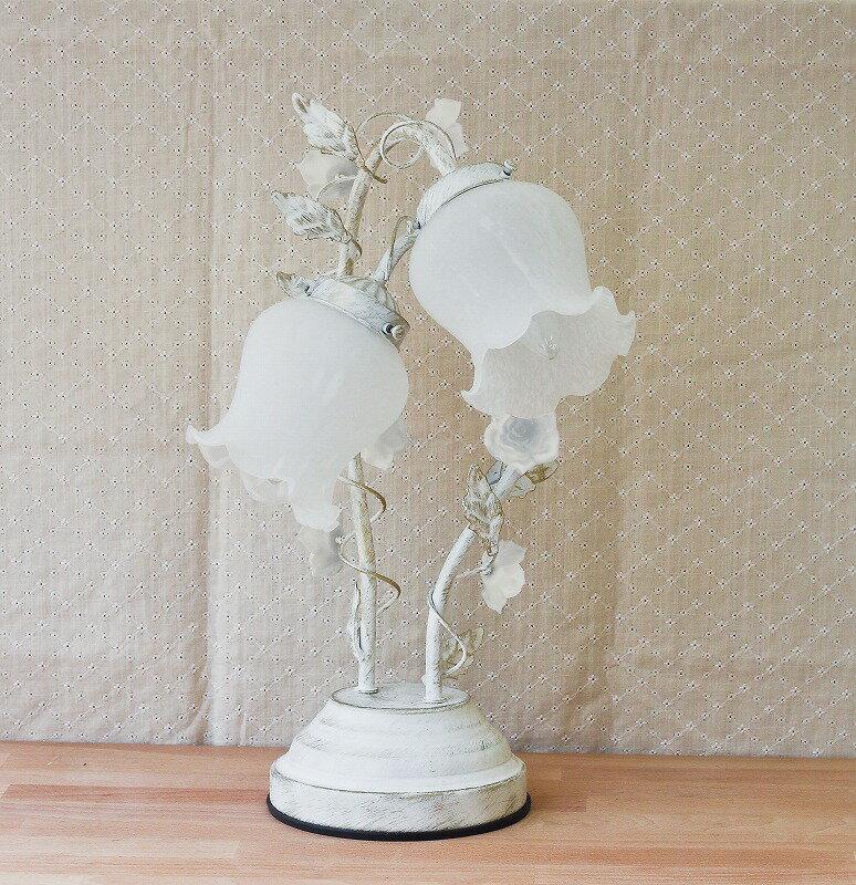 【卓上ランプ】ローズアームランプ2灯 ホワイト 〜バラをモチーフとしたインテリア卓上ライト。3段階調光タッチセンサー式〜(代引き不可)【送料無料】