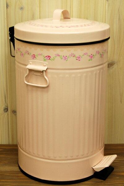 【ペダル式ダストボックス】ピンクローズ柄 12L 〜バラ柄のゴミ箱〜 薔薇雑貨 バラ雑貨 ばら雑貨 ローズ雑貨(代引き不可)