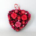 リース ハートリース 幅22cm 薔薇 花 天然素材 レッド(代引不可)【S1】