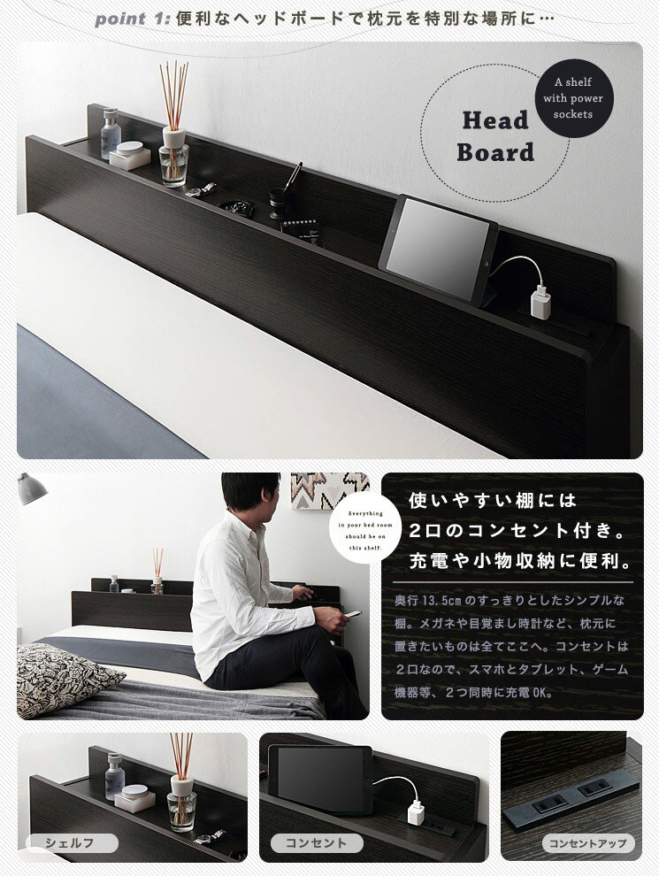 ベッド ダブル コンセント付 収納 【Flor...の紹介画像3