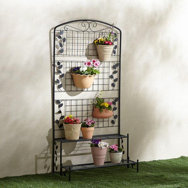 フェンス付フラワースタンド2段 1台 おしゃれ 花飾り フラワースタンド フラワーラック プランターラック(代引不可)【送料無料】