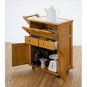 天然木フラップ式 キッチンワゴン OSK-T016 キャスタ...