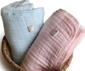 ベビーアフガン 6重織ガーゼ 75×75 チェリーブロッサム ミントブルー ギフト エコテックス Fabric Plus【送料無料】