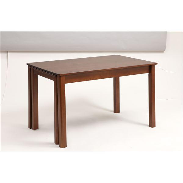 伸長式ダイニングテーブル/エクステンションテーブル 【幅120~200cm】 木製 インナーキャスター仕様 『シオン』 ウォールナット材使用。 最大80cm広がる食卓テーブル 机