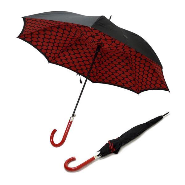Fulton(フルトン) L723 029299 Bloomsbury-2 Lips Grid 「Lulu Guinness」ルルギネス コラボモデル ワンタッチ ジャンプ傘 自動開き 長傘 2重構造 ブルームズバリー アンブレラ 表と裏で異なるデザインが魅力的♪【】