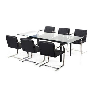 ミース・ファン・デル・ローエ ブルーノセット【E6】シングルチェア6台、テーブル(225×85) リプロダクト(代引き不可)【1年保証付】【送料無料】