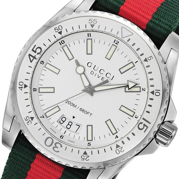 グッチ GUCCI ダイヴ DIVE クオーツ メンズ 腕時計 YA136207 ホワイト【送料無料】【_包装】 【送料無料】【ラッピング無料】