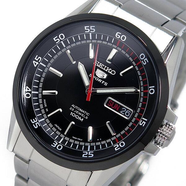 セイコー SEIKO 5 スポーツ 自動巻き メンズ 腕時計 時計 SNZH19J1 ブラック【_包装】 【ラッピング無料】