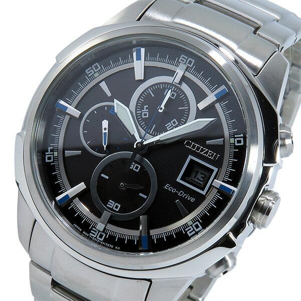 シチズン CITIZEN クオーツ クロノ メンズ 腕時計 時計 CA0370-54E ブラック/ブルー【_包装】 【ラッピング無料】