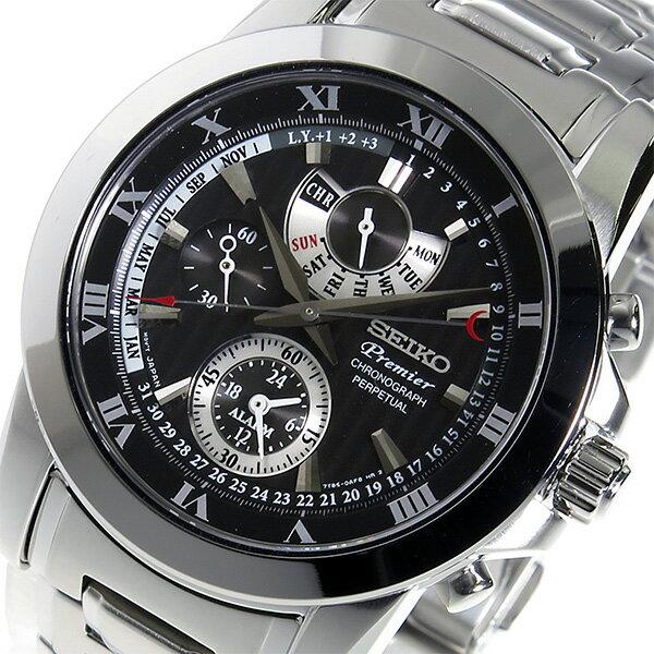 セイコー SEIKO プルミエ クロノ クオーツ メンズ 腕時計 SPC161P1 ブラック【送料無料】【_包装】 【送料無料】【ラッピング無料】