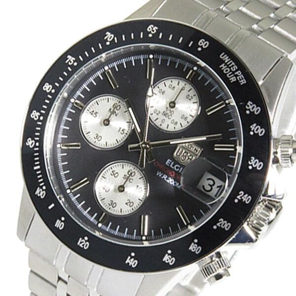 エルジン ELGIN クロノ クオーツ メンズ 腕時計 時計 FK1408S-BN ブラック【_包装】 【ラッピング無料】