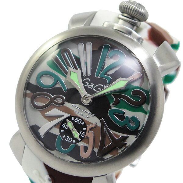 ガガミラノ GaGaMILANO マヌアーレ 手巻き メンズ 腕時計 5010-18S-SS グリーン【送料無料】【_包装】 【送料無料】【ラッピング無料】