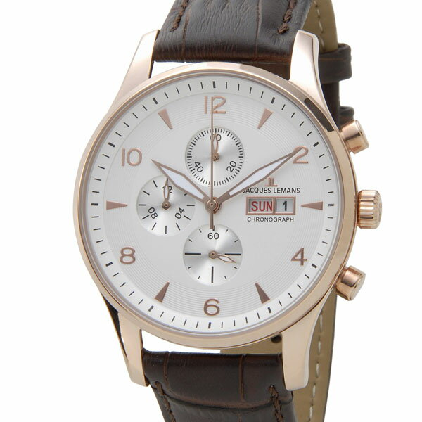 ジャックルマン クロノ デイト クオーツ メンズ 腕時計 時計 1-1908C ホワイト/シルバー【_包装】 【ラッピング無料】【カシオ デジアナ 腕時計】