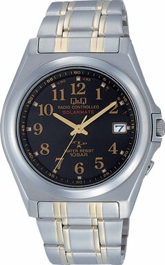 【CITIZEN】シチズン Q&Q ソーラー電源 アナログ電波 メンズ腕時計HG08-205 /5点入り(き) アナログ電波時計。あかり発電機能搭載。エコマーク認定商品!!