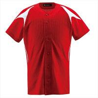 デサント(DESCENTE) ユニフォームシャツ ジュニアフルオープンシャツ JDB1013 カラー レッド×Sホワイト サイズ 150【S1】の画像