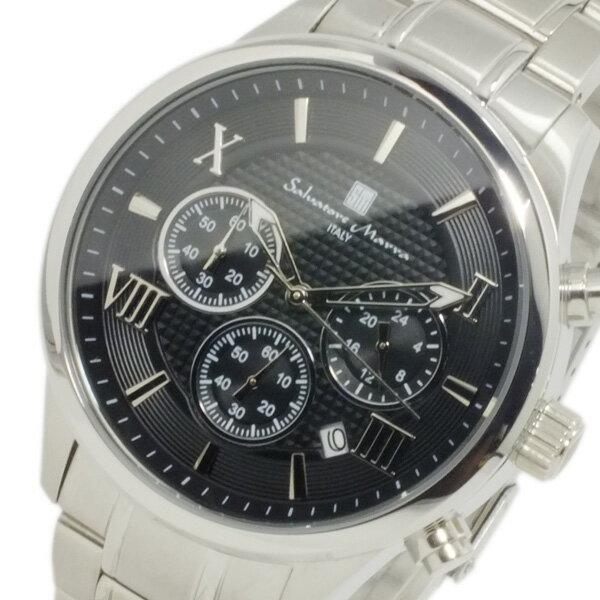 サルバトーレ マーラ クオーツ メンズ クロノ 腕時計 時計 SM15102-SSBKSV ブラック【_包装】 【ラッピング無料】