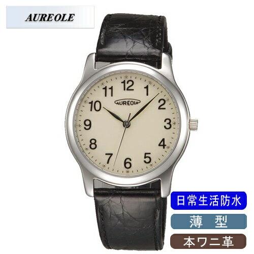 【AUREOLE】オレオール メンズ腕時計 SW-467M-4 アナログ表示 薄型 本ワニ革 日常生活用防水 /1点入り(き) 【AUREOLE】優れた機能性と洗練されたデザイン