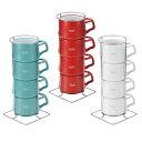 DANSK(ダンスク) コベンスタイル ストーンウェア コーヒーカップ 4個入 チリレッド ホワイト ティール