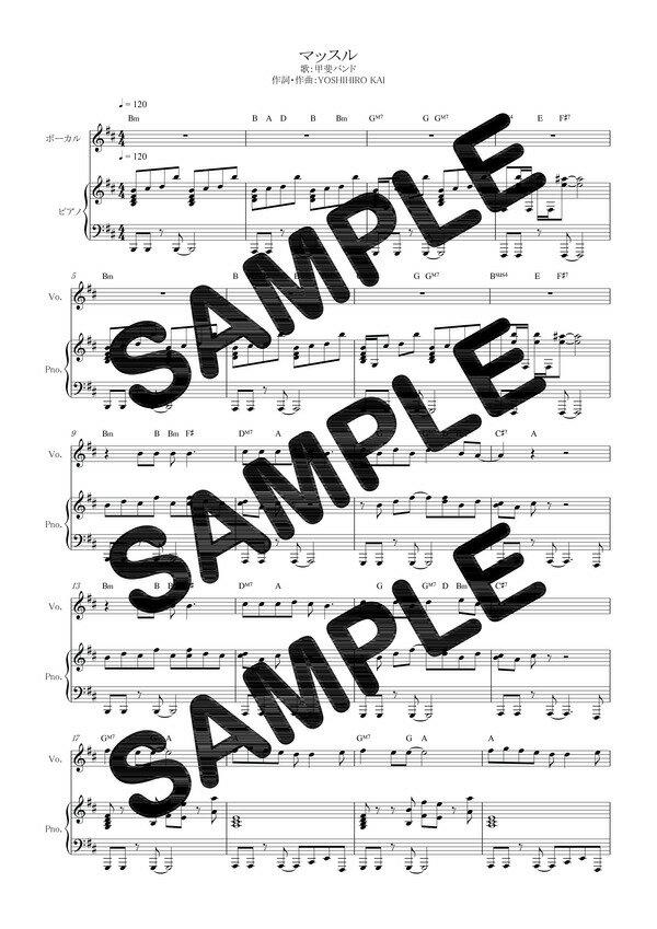 【ポイント10倍】【ダウンロード楽譜】 マッスル/甲斐バンド(ピアノ弾き語り譜 初級1)