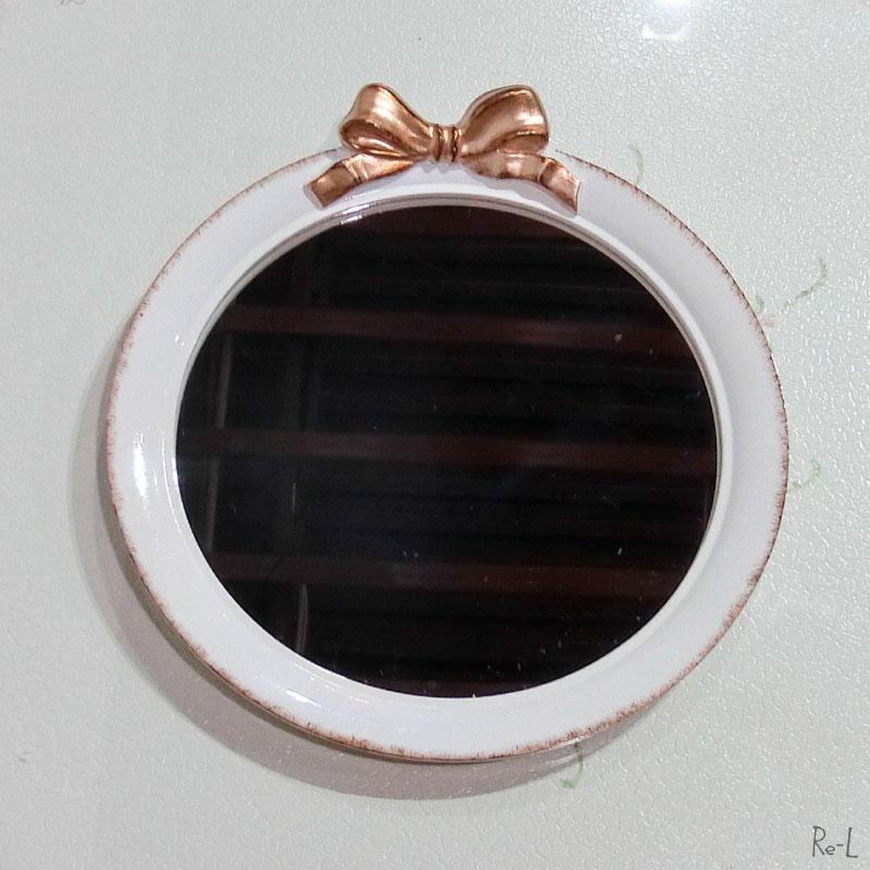 リボンミラー 壁掛け鏡ホワイト・ゴールドRE15004WH