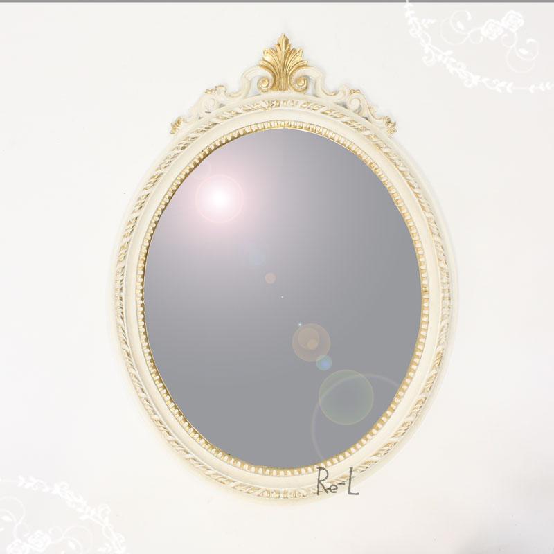 【あす楽対応】イタリア製 ホワイト・ゴールド楕円ウォールミラー 壁掛け鏡REG1-C13N・ISA-1410