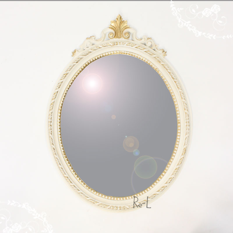 REG1-C13N・ISA-1410 イタリア製 ホワイト・ゴールド楕円ウォールミラー 壁掛け鏡