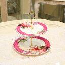 送料無料 スパニッシュローズ ケーキスタンド 2段エレガント おしゃれ かわいい 薔薇 ローズ 花柄 陶器 丸 皿 お祝い お返し カフェ パーティ ケーキプレート アンティーク ギフト プレゼント 送料無料REGC-064