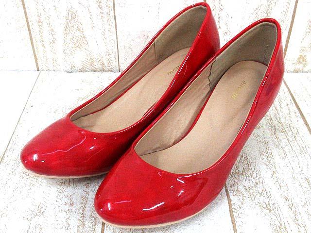 エナメル アーモンドトゥ 靴 赤 ...