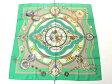 美品【HERMES/エルメス】時計モチーフ シルク 大判ストール スカーフ グリーン レディース 150115