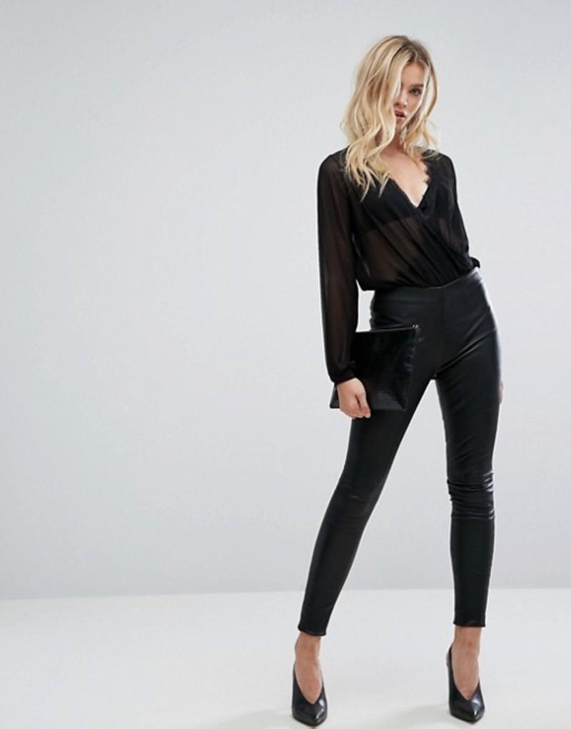 セレクティッド レディース レギンス ボトムス Selected femme leather legging Black