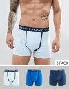 ファーラー メンズ トランクス アンダーウェア Farah Champlain 3 Pack Boxers Yale/t.blue/p.blue