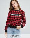 エレッセ レディース パーカー・スウェット アウター ellesse relaxed sweatshirt with front logo in houndstooth Red/black