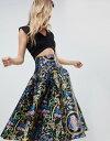 裙子 - エイソス レディース スカート ボトムス ASOS Prom Skirt in Satin Twill in Baroque Print Multi