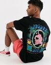 ショッピングNTB クルックドタン メンズ Tシャツ トップス Crooked Tongues oversized t-shirt with tropical tiger print Black