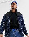 プルアンドベアー メンズ ジャケット・ブルゾン アウター Pull&Bear fleece jacket with animal print in blue Blue