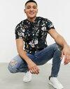 ショッピングETC エイソス メンズ シャツ トップス ASOS DESIGN stretch slim floral shirt in black Black