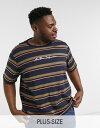 ショッピングRANGE アナザーインフルエンス メンズ Tシャツ トップス Another Influence Plus signature t-shirt in orange stripe Navy