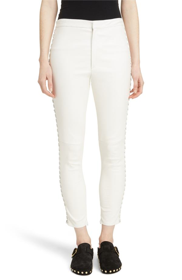 イザベル マラン レディース レギンス ボトムス Isabel Marant Medley Lace-Up Side Lambskin Leather Pants White