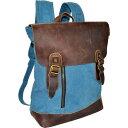 アールアンドアール メンズ バックパック・リュックサック バッグ Canvas Backpack Bag With Leather On Flap Blue